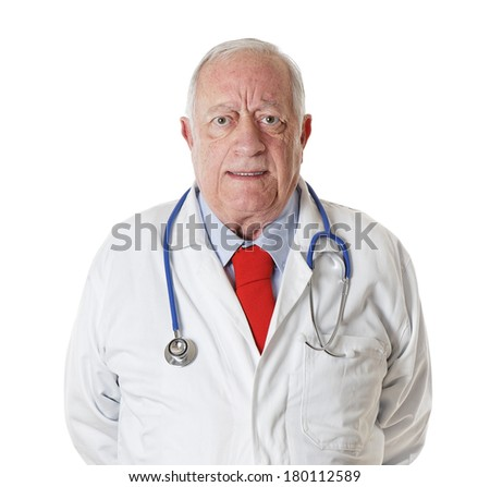Portrait Doctor senior isolated on white background - stock photo