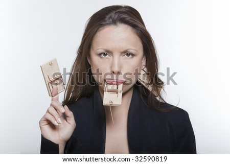 portrait expressive woman isolated background mouse huntin - stock photo