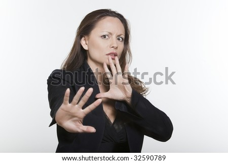 portrait expressive woman isolated background of a Distraught asian woma - stock photo