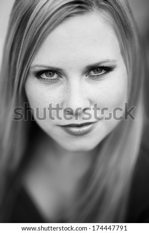 Portrait face of real beautiful blonde woman.