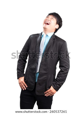 portrait face of young asian business man laughing isolated on white background - stock photo