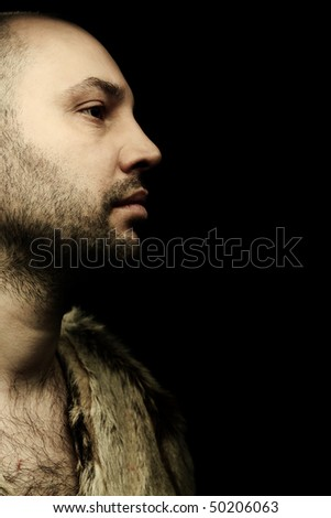 portrait fashion men in fur - stock photo