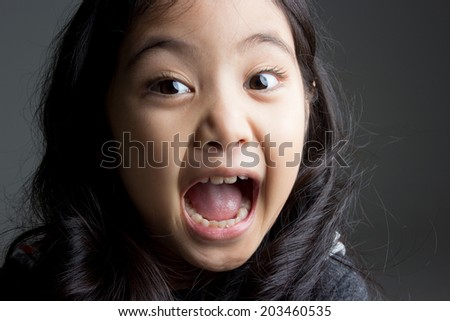 Portrait fashion of little Asian girl isolated on gray background