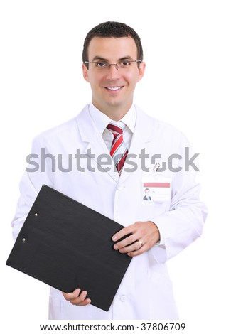 Portrait friendly medical doctor. Isolated over white background - stock photo
