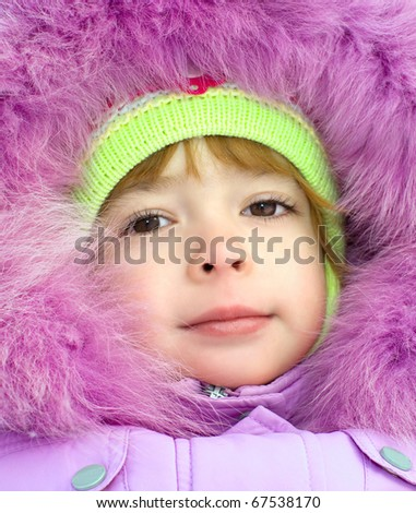 portrait girl in winter clothes - stock photo