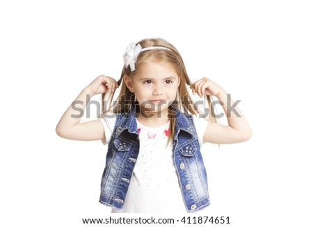 portrait girl isolated on white  - stock photo