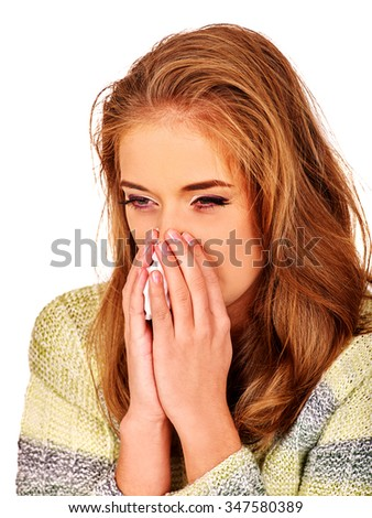 Portrait girl with running nose a handkerchief. The reasons may be different. Colds, allergies or depression. Isolated. - stock photo