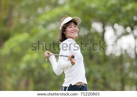 Portrait : Golf Player Thai Women - stock photo