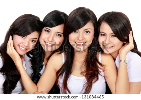 Portrait Group of smiling teenagers having fun - stock photo
