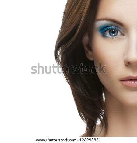 Portrait half of beautiful young woman close up, isolated on white background. - stock photo