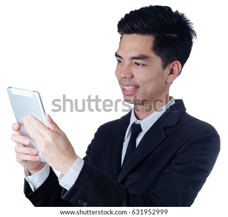 Portrait handsome young asian man wearing  a black suit holding smart phone and smile thinking business isolated on white background. Asian man people. business concept.