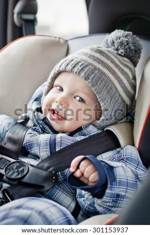 Portrait Happy Baby Boy Sitting Car Stock Photo (100% Legal ...