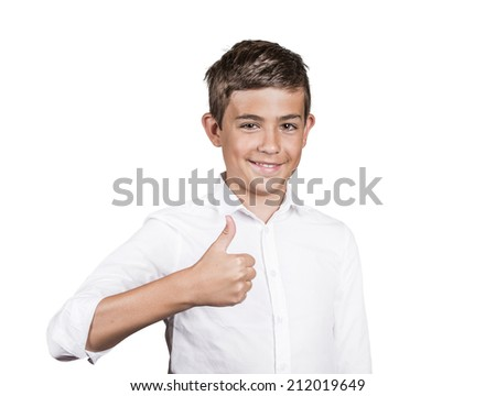 Portrait Happy casual young, handsome man showing thumb up gesture, smiling isolated white background. Positive human emotions, facial expressions, feelings, body language, life perception, thinking - stock photo