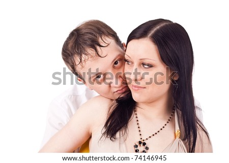 Portrait happy family in isolate background