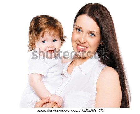 Portrait happy family mother with her little baby - stock photo