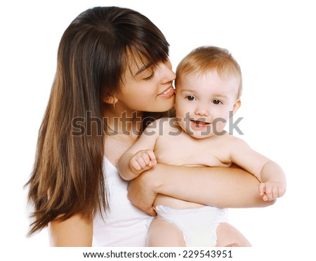 Portrait happy mom holding charming little baby