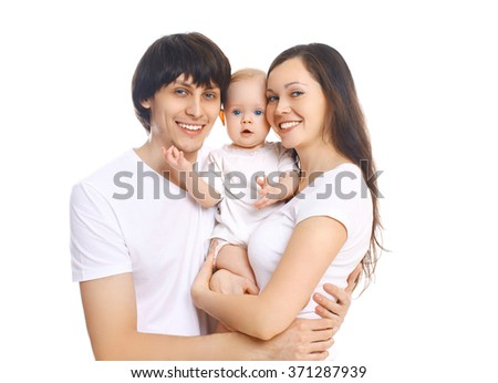 Portrait happy smiling family, mother and father with baby on white background - stock photo