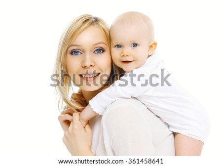 Portrait happy smiling mother and baby having fun together on a white background - stock photo