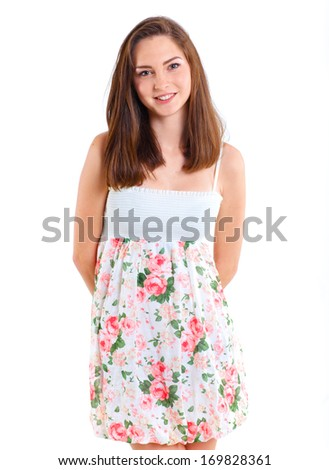 Portrait happy teenage girl. Isolated over white background. - stock photo