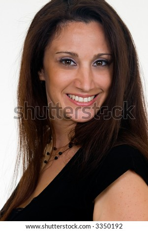Portrait headshot of hispanic woman in her 30s wearing black top
