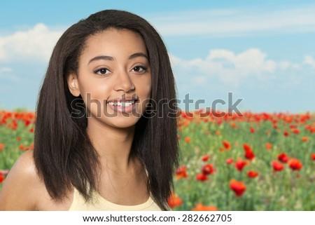 Portrait, Human Face, Smiling. - stock photo