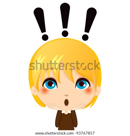 Portrait illustration of cute kid making a surprise gesture expression - stock photo