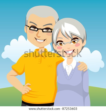Portrait illustration of lovely cheerful retired couple together - stock photo