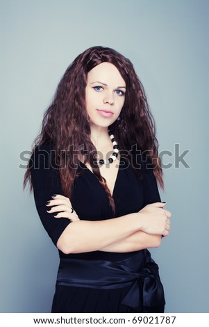 Portrait image of beautiful young female woman - stock photo