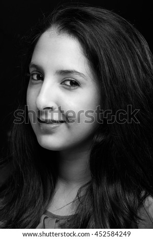 portrait in black and white of latino girl