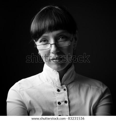 portrait in low key - stock photo