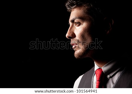 Portrait in profile - stock photo