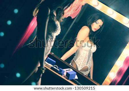 Portrait in the mirror - stock photo