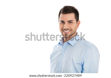 Portrait: Isolated handsome smiling business man over white. - stock photo