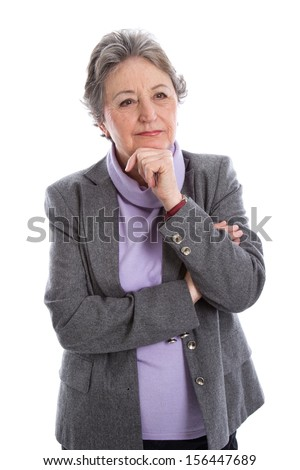 Portrait: isolated older senior woman over white background. - stock photo