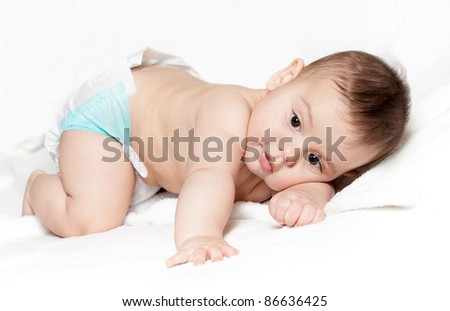 Portrait little boy isolated on white - stock photo