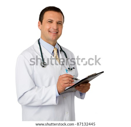 Portrait male doctor isolated on white background - stock photo