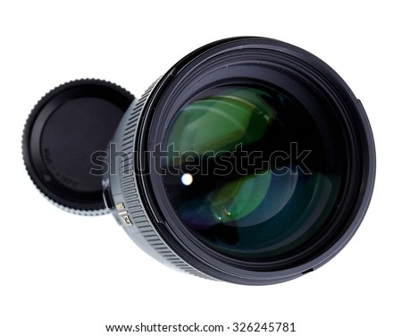 Portrait 85mm lens isolated on white. - stock photo