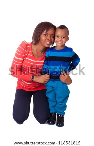 portrait mother and child black african - stock photo
