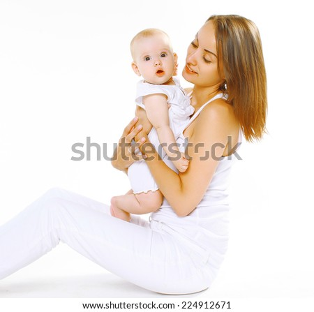 Portrait mother and child together on a white background - stock photo