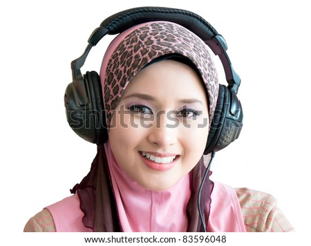 portrait muslim woman with headset - stock photo