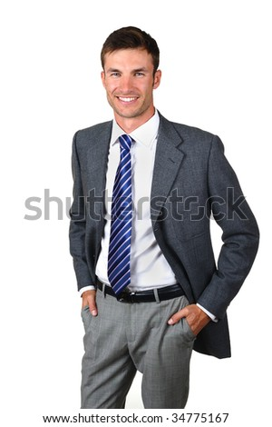 Portrait  nice businessman in  business suit isolated on  white background - stock photo