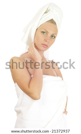 Portrait ob beautiful young lady isolated on a white background