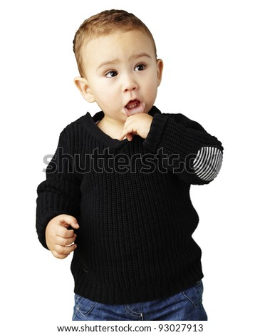 portrait of a adorable thoughtful kid against a white background