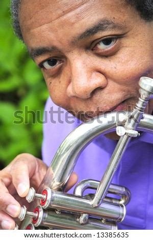 Portrait of a african american male jazz musician. - stock photo