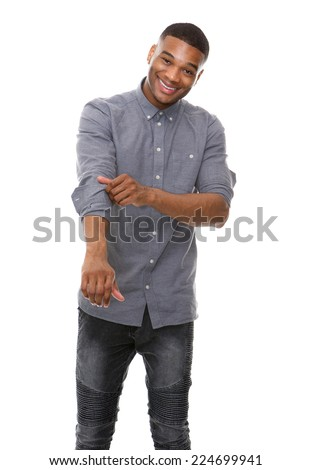 Portrait of a african american man smiling and rolling up sleeves - stock photo