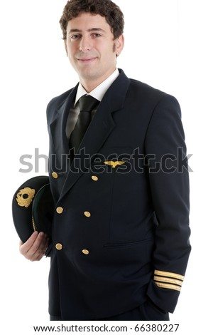 Portrait of a airline pilot/captain - stock photo