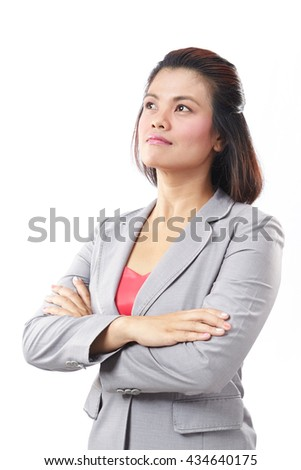 Portrait of a Asia business woman thinking on isolated white background - stock photo