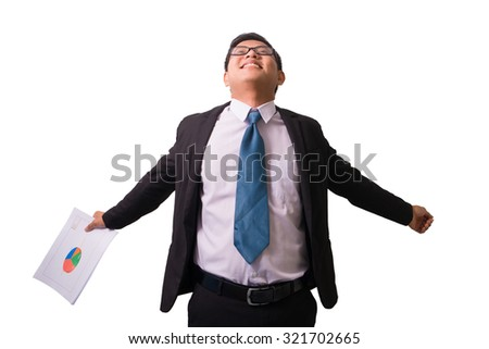 Portrait of a asian young business man enjoying success, screaming against white - Isolated