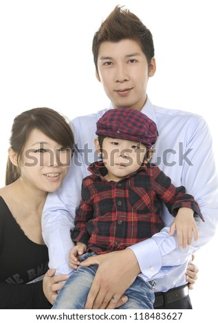 portrait of a asian young man standing with his wife and child isolated against white background