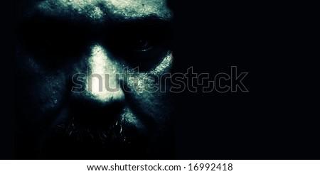 Portrait of a assassin - stock photo